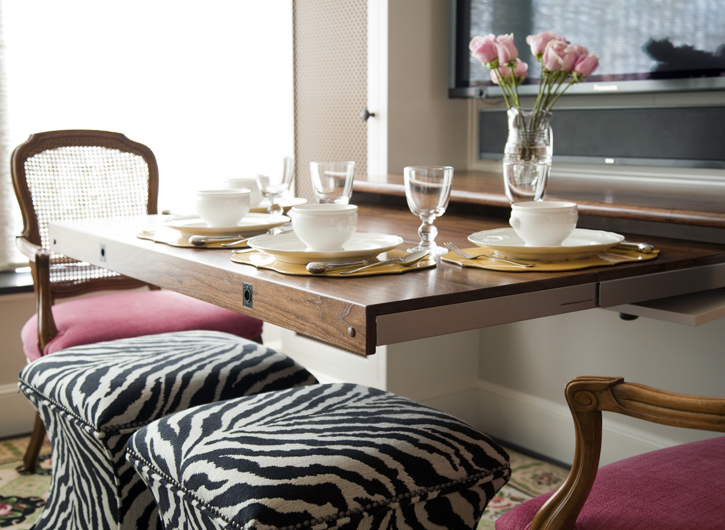 Zebra Ottomans Eclectic Dining Room Lewis Interiors
