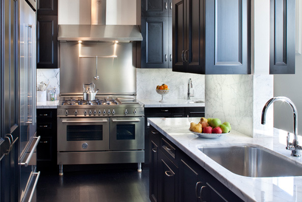 black kitchen cabinets with white marble countertops.  Kitchen Black Kitchen Cabinets In With White Marble Countertops A