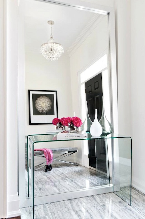 Lucite console table contemporary entrance foyer for Contemporary foyer ideas