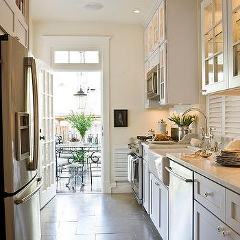 White Galley Kitchen, Transitional, kitchen, Benjamin Moore Soft Chamois, Paul Corrie Interiors