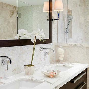 Brown Double Vanity, Transitional, bathroom