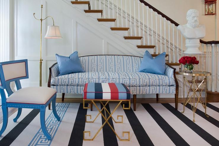 Suzie: Tobi Fairley - Eclectic white & blue foyer with settee upholstered in white & blue greek ...