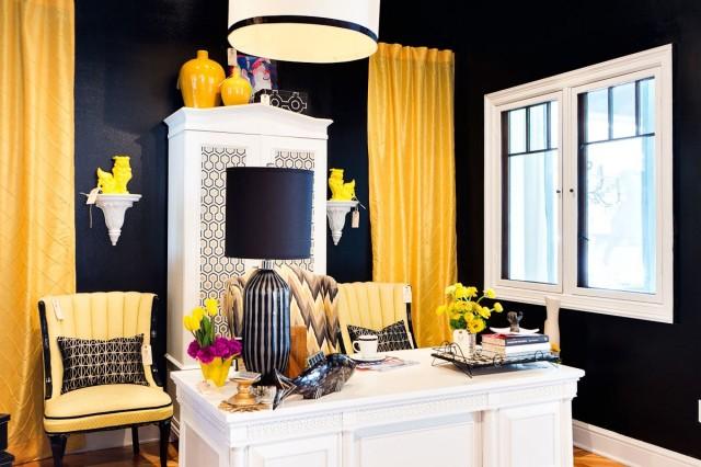 Perfect Yellow Curtains - Contemporary - den/library/office - Studio Ten 25 NO97