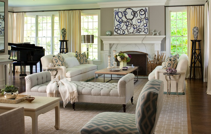 Velvet Tufted Bench, Transitional, living room, Muse Interiors