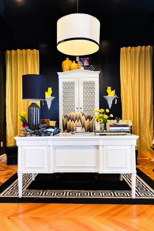 Yellow Curtains - Contemporary - den/library/office - Studio Ten 25