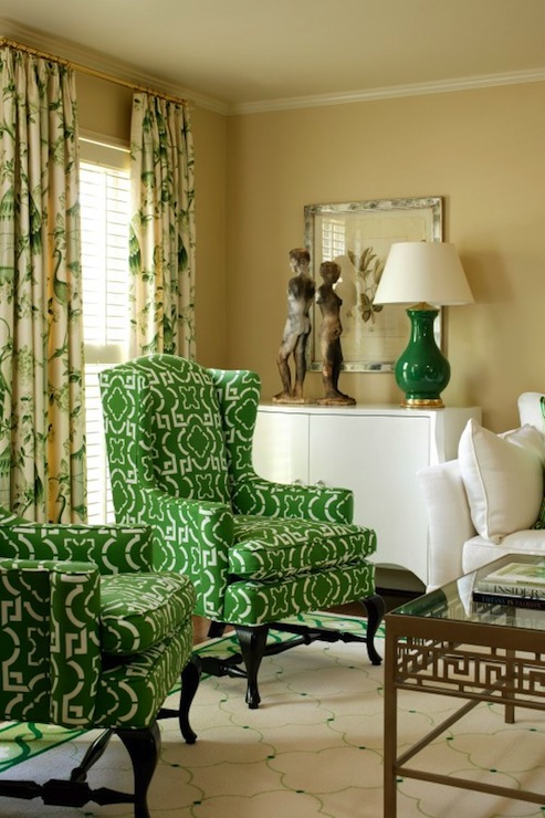 Green Wingback Chair Contemporary Living Room
