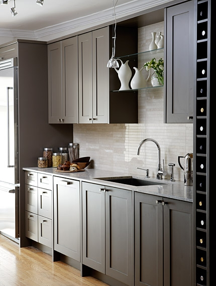Gray Cabinets Contemporary Kitchen Sarah Richardson Design - Gray cabinets with marble countertops