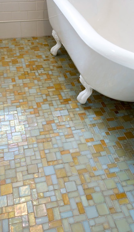mosaic glass tile floor eclectic bathroom
