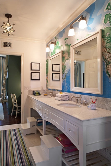 Amazing Boys Bathroom With Toys R Us World Map 8ft X 13ft Wall Mural Pair Of White Glass Double Sconces Over White Lacquer Beveled Mirrors White Double
