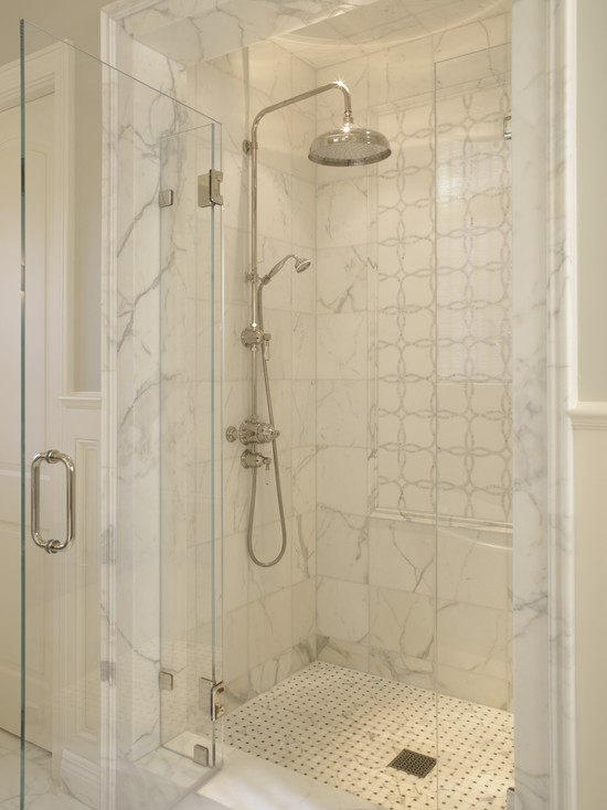 Marble Shower Surround Transitional Bathroom Sdg