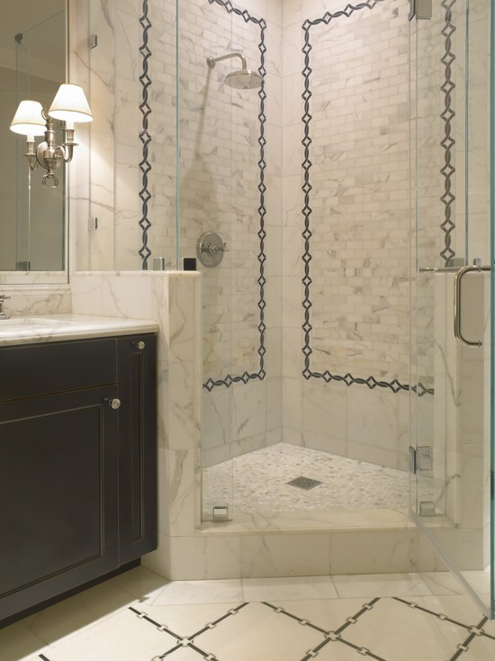 Corner shower transitional bathroom sdg architects for Bathroom designs with corner bath