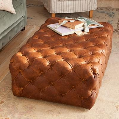 Rachel Ashwell Shabby Chic Couture Leather Cube Ottoman