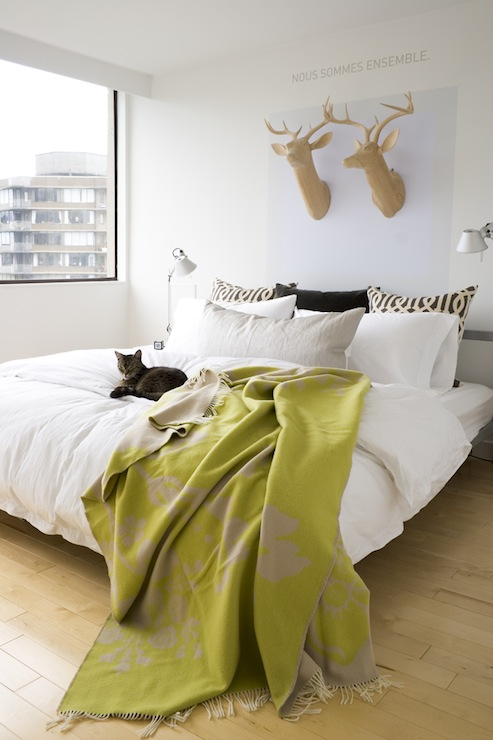 Chartreuse Throw Blanket Contemporary Bedroom House