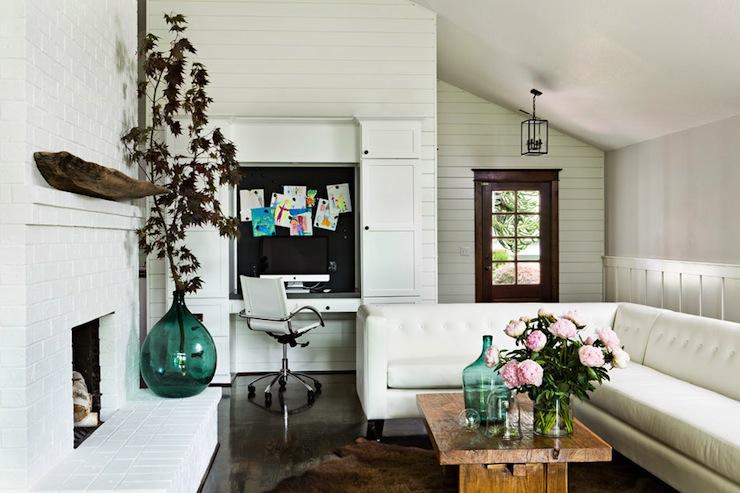 Floating Desk, Eclectic, living room, Jessica Helgerson Interior Design