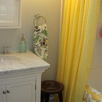 Yellow Shower Curtain, Cottage, bathroom, Benjamin Moore Gray Owl, Steward of Design