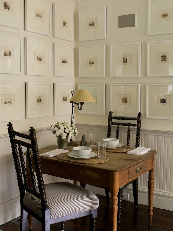 Superb Quatrefoil Chair Rail Part - 11: Chic Dining Space With White Chair Rail And Beadboard, Rustic Farmhouse  Dining Table With Turned Legs, Glossy Black Abacus Chairs And Black And  White Photo ...