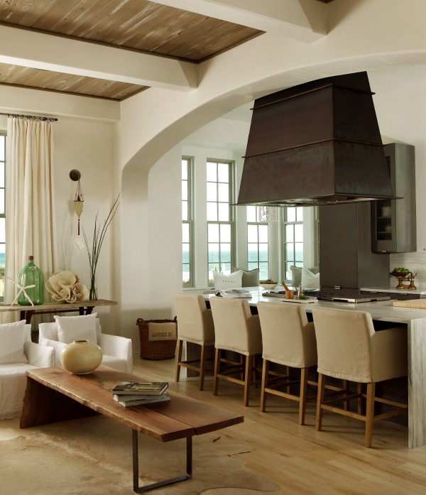 Slipcovered Bar Stools Contemporary Kitchen The Iron