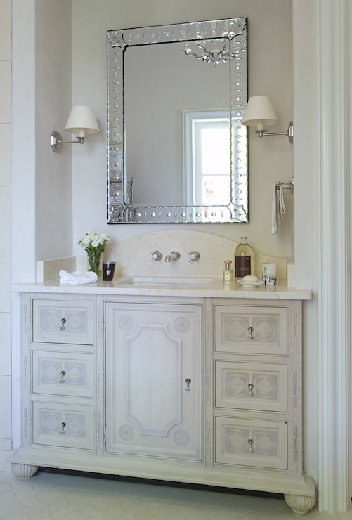 Elegant Bathroom With French Vanity White Marble Countertop Nickel Wall Mounted Faucet Kit Silver Etched Mirror And Sconces