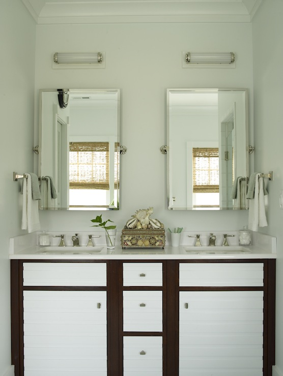 double vanity with two mirrors. two tone double vanity with mirrors o
