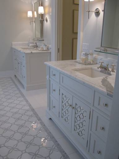Gray mosaic tile traditional bathroom phoebe howard Master bathroom tile floor