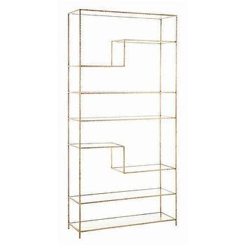 Arteriors Worchester Gold Leaf Iron And Glass Bookshelf, Arteriors-6817, Candelabra, Inc.