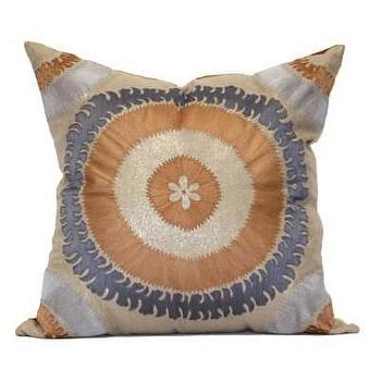 Bliss Studio Ohara Suzani Slate & Silver Pillow