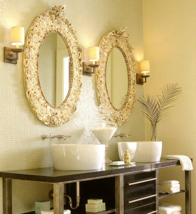Seashell mirror design ideas - Round mirror over bathroom vanity ...