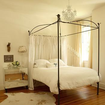 Mirrored Nightstand & Canopy Bed Sheer Curtains Design Ideas