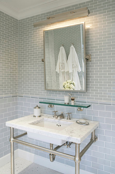 amazing bathroom with gray glass subway tile backsplash paired with gray mini brick tile framing polished nickel picture light rectangular pivot mirror - Bathroom Gray Subway Tile