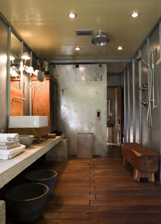 Industrial Bathroom Design - Modern - bathroom - Mell ... on cool industrial kitchen design, small bathroom shower tile design, double shower bathroom design, hgtv bathroom design, steel industrial kitchen interior design, open plan bathroom design, industrial bathroom design, japanese soaking tub bathroom design, bathroom steam shower room design,