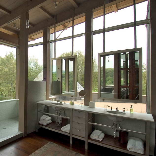 Bathroom Mirrors Over Windows bathroom vanity in front of window - contemporary - bathroom - veranda
