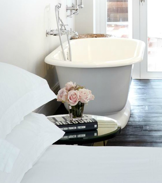 Open Bathroom Transitional Bedroom Samantha Todhunter