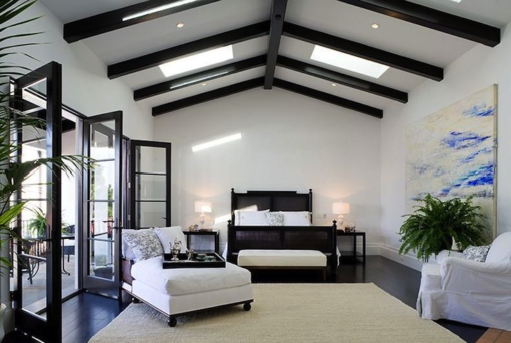 Black Cane Bed Transitional Bedroom