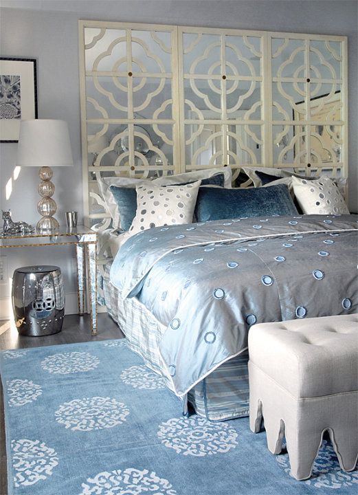 Mirror nightstand contemporary bedroom mabley handler for Blue white and silver bedroom ideas