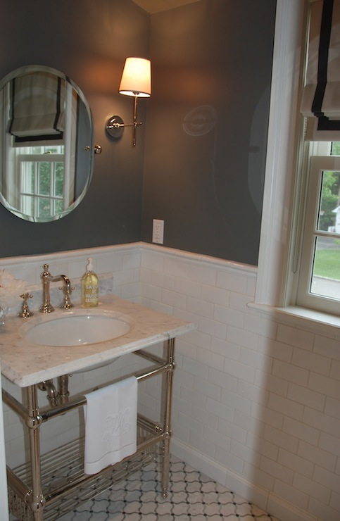 Gray Walls Transitional Bathroom Benjamin Moore