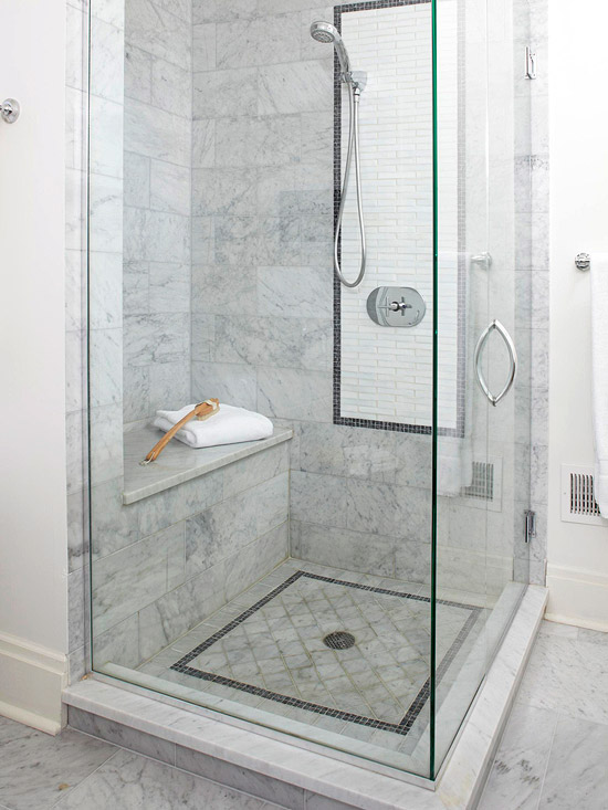 marble shower bench transitional bathroom bhg. Black Bedroom Furniture Sets. Home Design Ideas