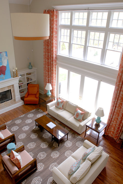 Turquoise And Coral Living Room With Two Story Ceiling, Two Story Coral  Curtains, Natural Linen Drum Pendant With Orange Trim, Madeline Weinrib  Atelier ...