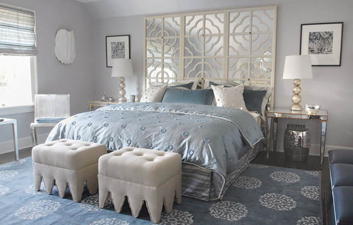 light blue and silver bedroom mirror headboard contemporary bedroom mabley handler 19029