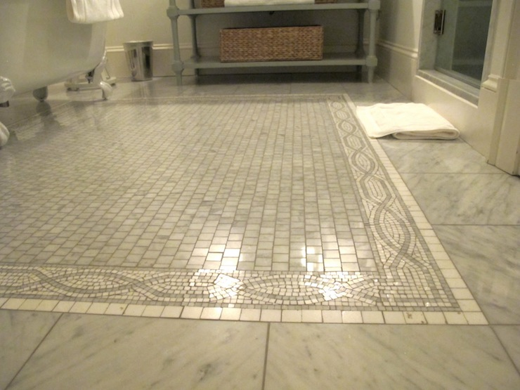 Marble Tiled Floor With Mosaic Marble Inset Tiles And Claw Foot Tub