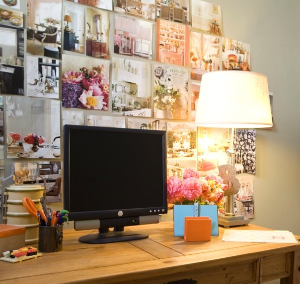 Built In Pin Board Transitional Den Library Office