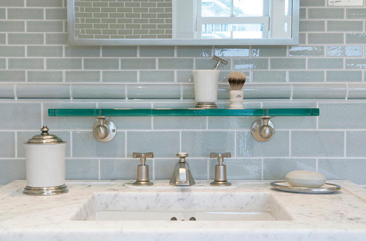 blue glass subway tile backsplash design ideas