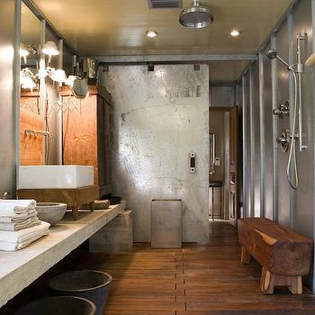 Industrial Bathroom Design. Floating Teak Shower Bench Design Ideas