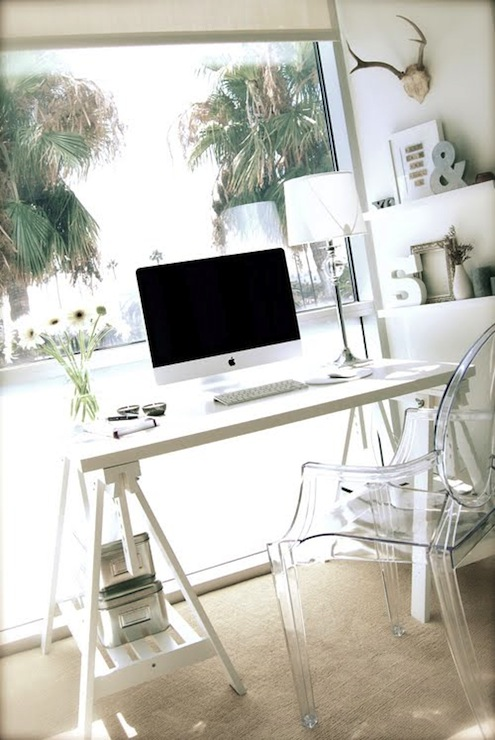 sawhorse desk contemporary den library office. Black Bedroom Furniture Sets. Home Design Ideas