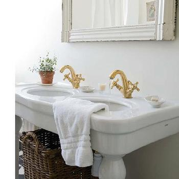 Swedish bathroom with glossy white double Parisian pedestal sink, twin ...