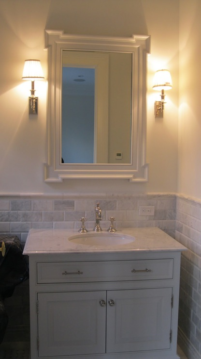 Beveled Marble Subway Tile Transitional Bathroom The