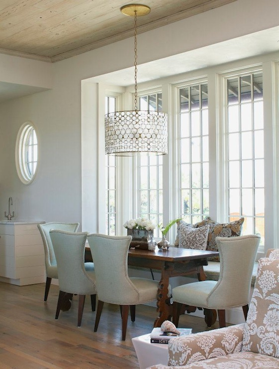 White Linen Dining Room Drum Pendant Design Ideas