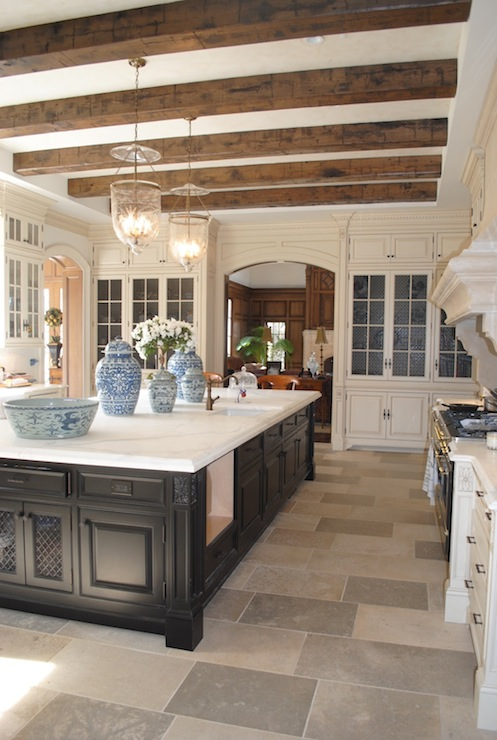 Ceiling beams design ideas for Country kitchen island designs