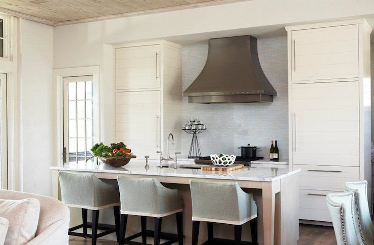 Slipcovered Barstools Transitional Kitchen Tracery