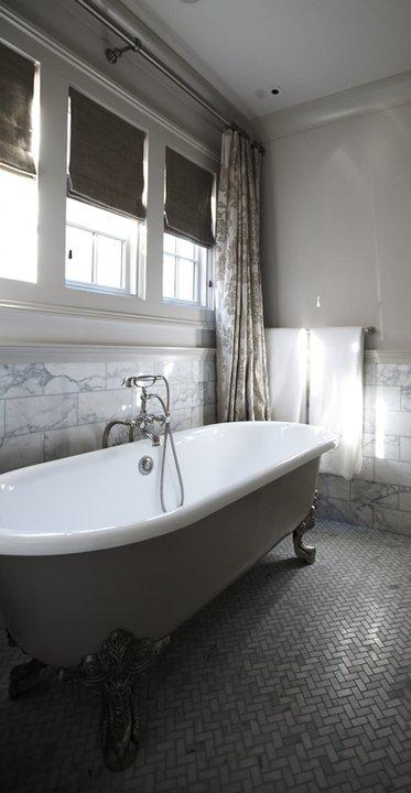 Marble Herringbone Floor, Cottage, bathroom, Tracery Interiors