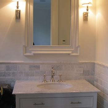 Beveled Marble Subway Tile, Transitional, bathroom, The Enchanted Home